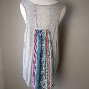 No Boundries Gray Patchwork Lace Back Tank Top XL